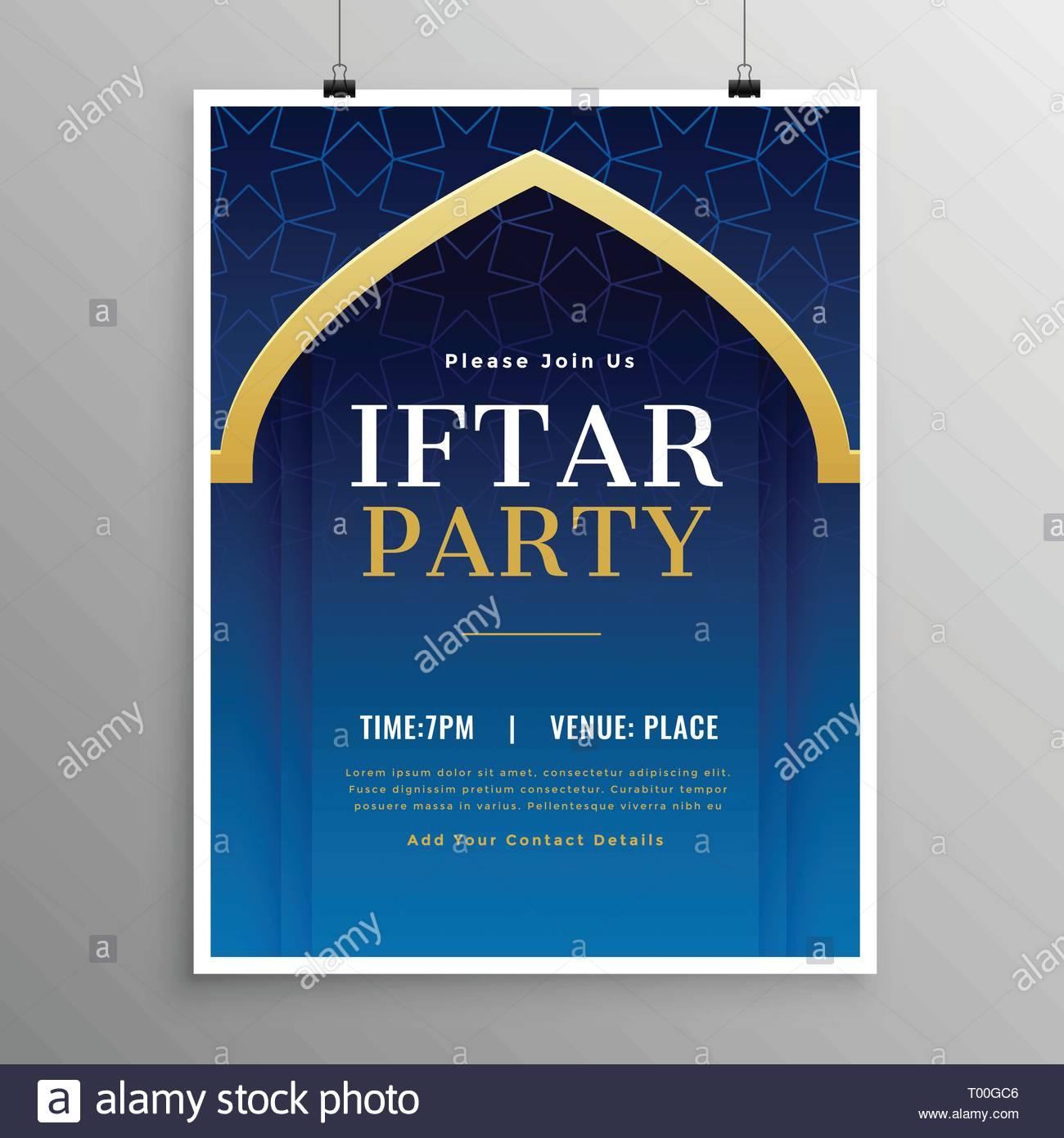 Ramadan Iftar Party Invitation Template Stock Vector Art