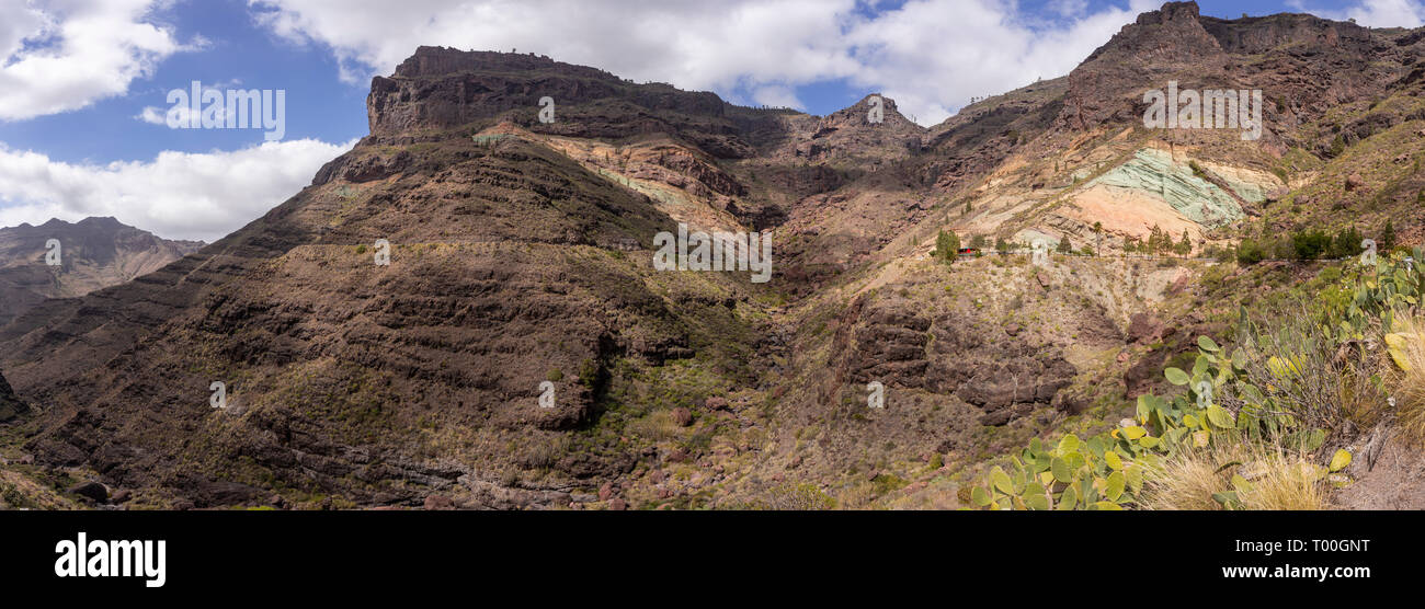 Panorama of Los Azulejos colourful volcanic rocks, Gran Canaria, Canary Islands - Stock Image