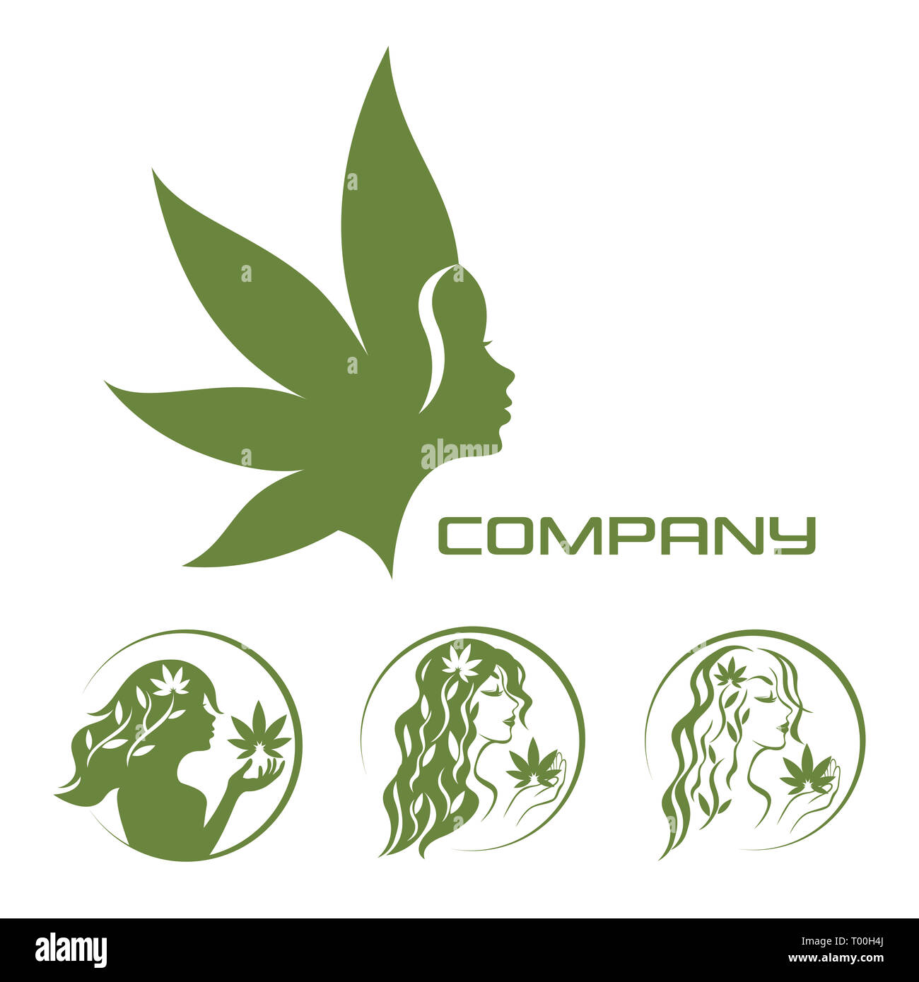 Goddess of the earth and cannabis logo - Stock Image