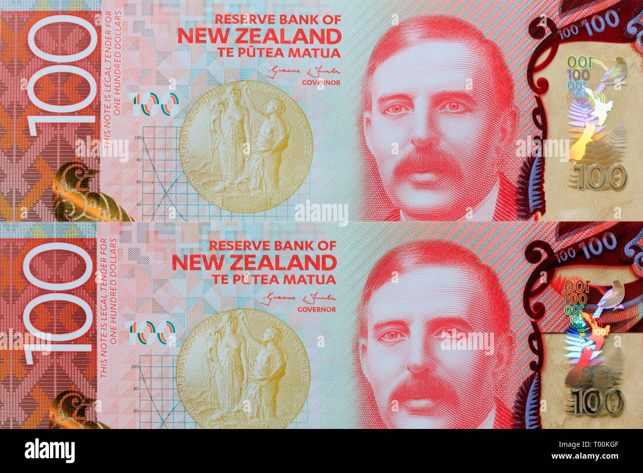 New Zealand 100 dollar paper currency note, Auckland, New Zealand - Stock Image