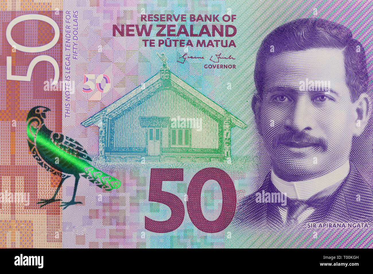 New Zealand 50 dollar paper currency note, Auckland, New Zealand - Stock Image
