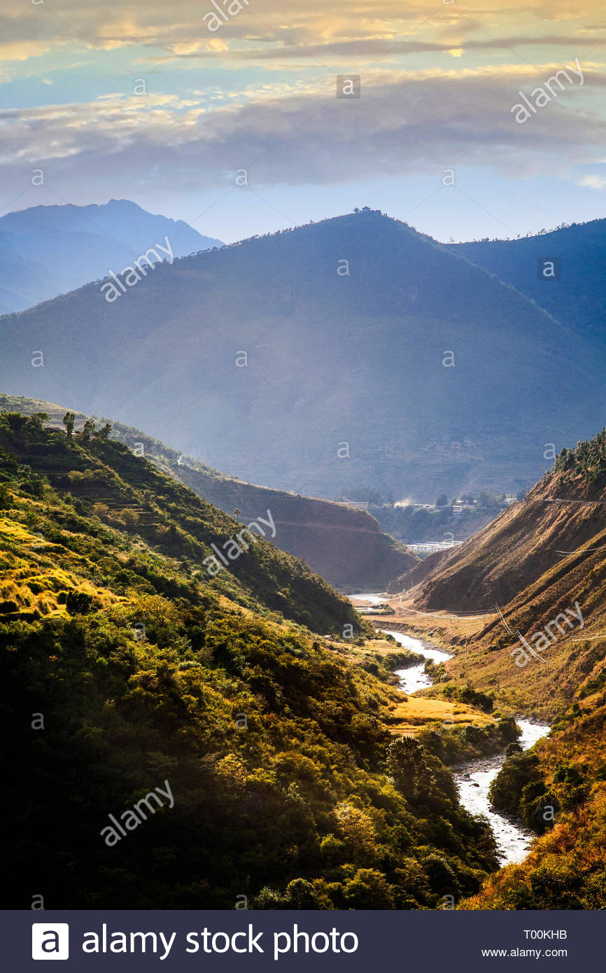 The Himalayan foothills of Bhutan outside of Thimphu. - Stock Image