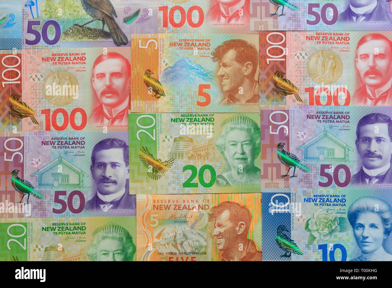New Zealand paper currency, Auckland, New Zealand - Stock Image