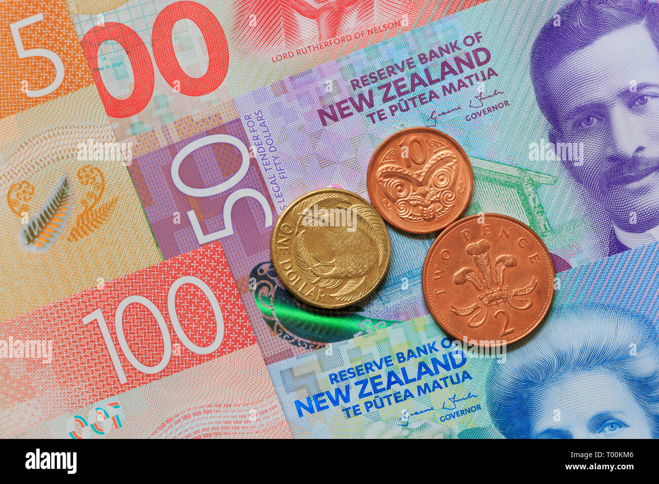 New Zealand paper currency & coins, Auckland, New Zealand Stock Photo