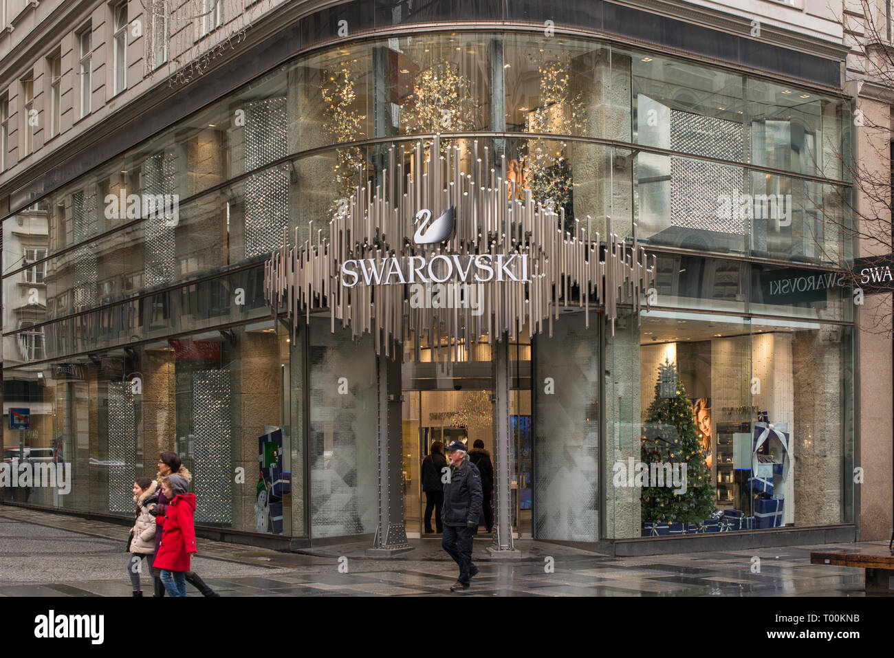 277d47fd5a5 Swarovski jewelry shop on Kartner street in Vienna, Austria. - Stock Image