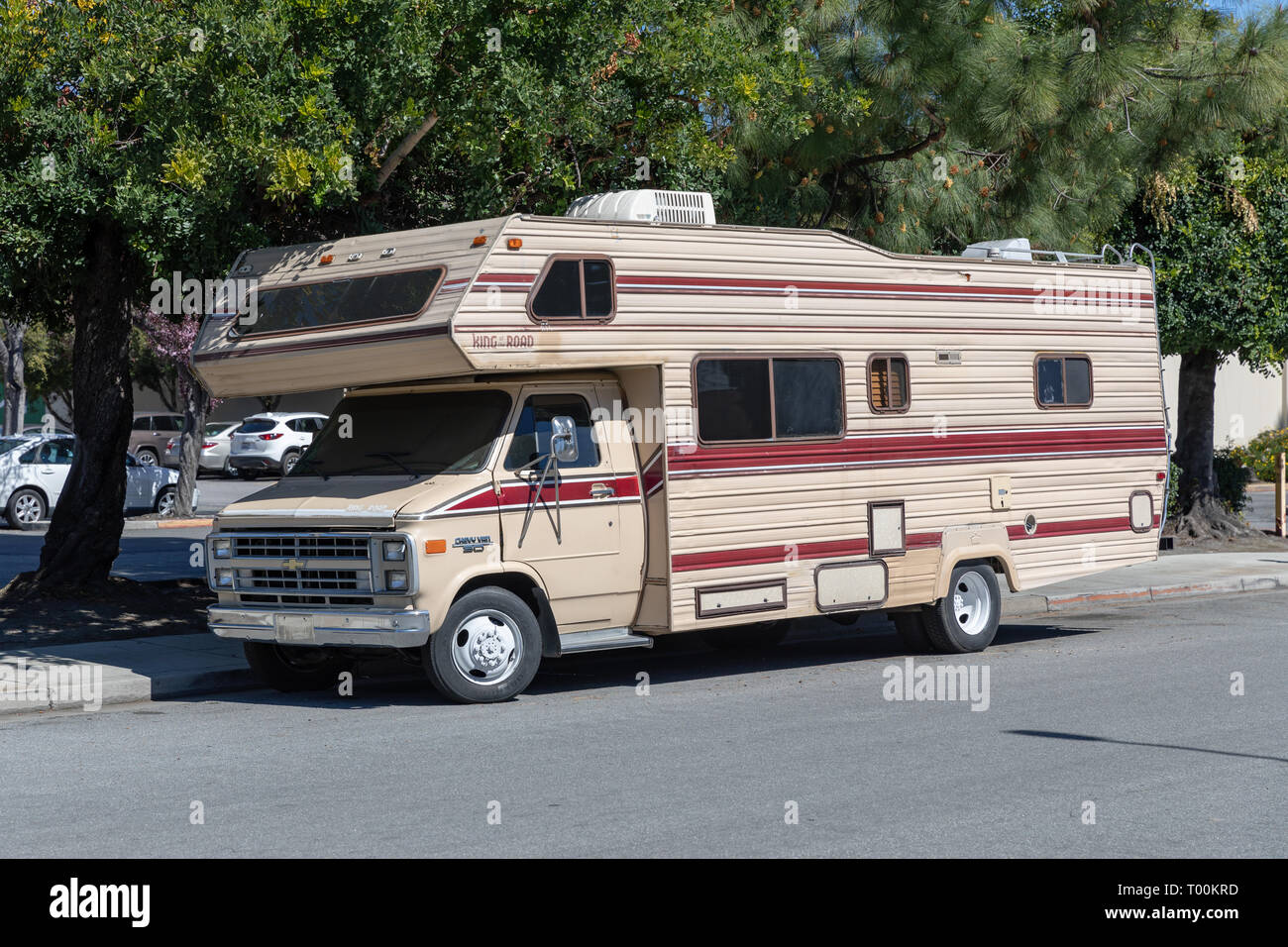 Chevrolet Chevy Van 9 Camper, beige Stock Photo - Alamy