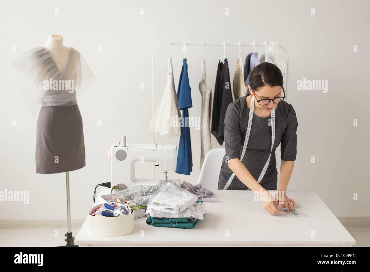 Dressmaker Fashion Designer And Tailor Concept Young Woman Designer Process Of Creating A Dress Stock Photo Alamy