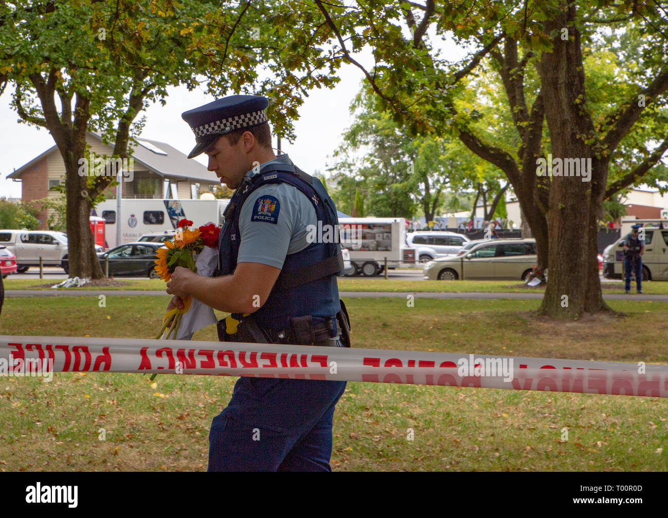 Christchurch, Canterbury, New Zealand, March 17 2019: Flowers to remember the victims of the March 15 2019 Christchurch Mosque Shootings - Stock Image