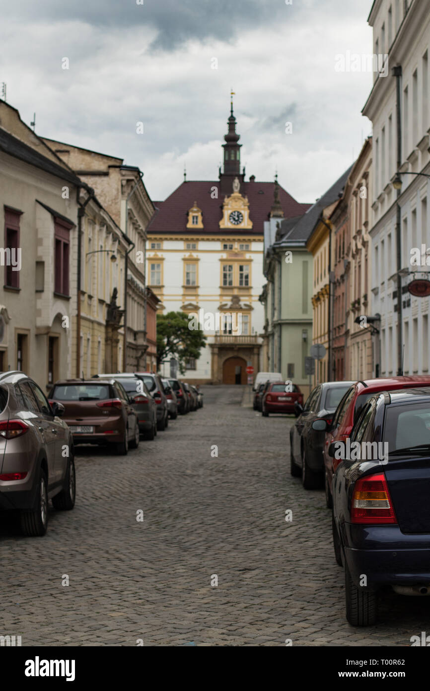 Street of Olomouc Old Town in Czech Republic - Stock Image