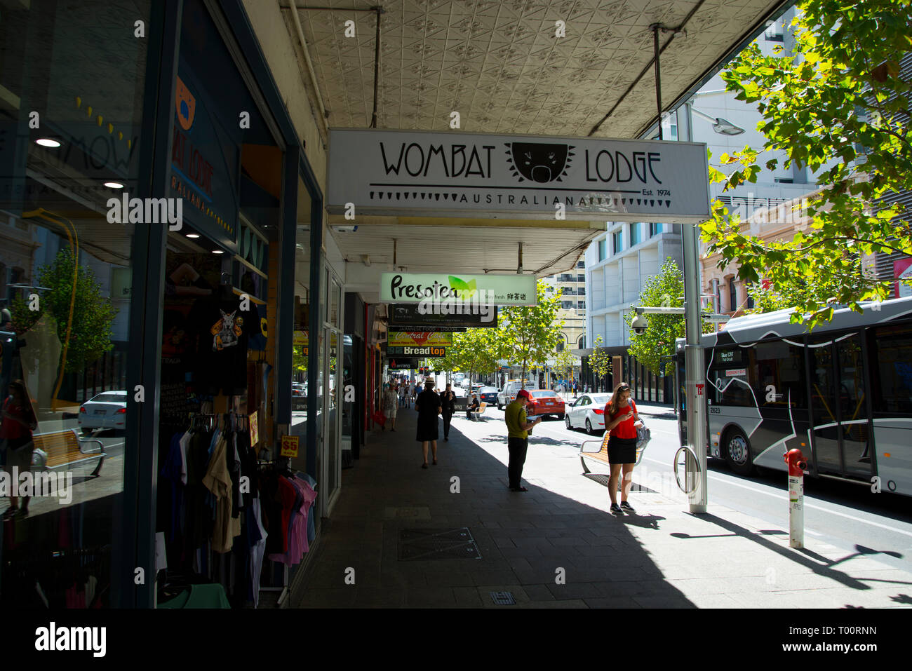 PERTH, AUSTRALIA - March 2, 2019: Commercial buildings on Barrack Street - Stock Image