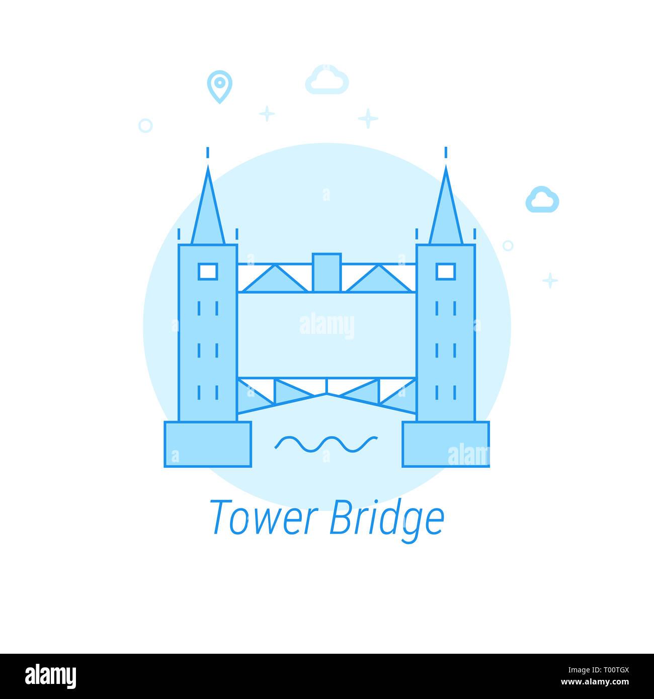 Tower Bridge, London Flat Icon. Historical Landmarks Related Illustration. Light Flat Style. Blue Monochrome Design. Editable Stroke. Adjust Line Weig - Stock Image