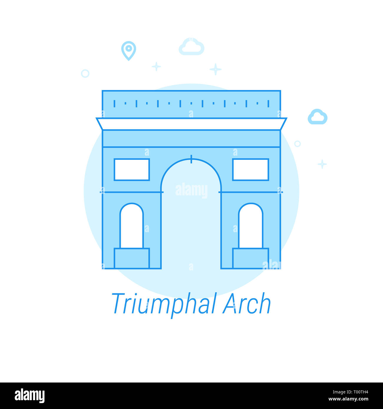 Triumphal Arch, Paris Flat Icon. Historical Landmarks Related Illustration. Light Flat Style. Blue Monochrome Design. Editable Stroke. Adjust Line Wei - Stock Image