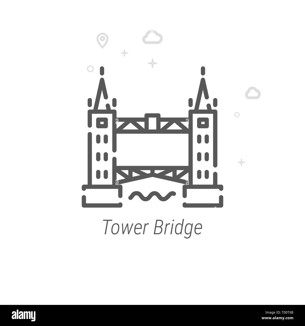 Tower Bridge, London Line Icon. Historical Landmarks Symbol, Pictogram, Sign. Light Abstract Geometric Background. Editable Stroke. Adjust Line Weight - Stock Image
