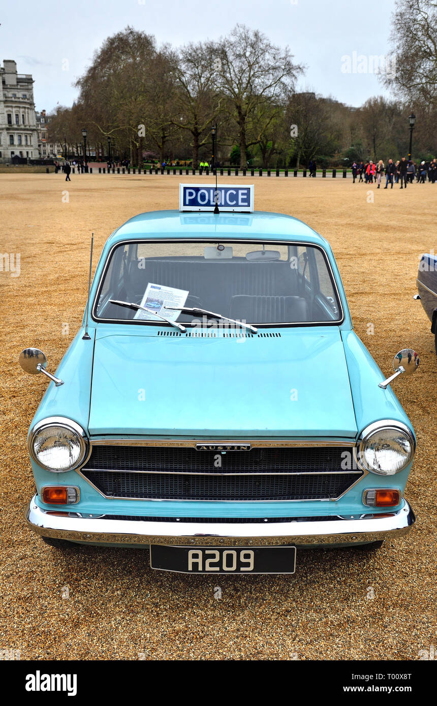 London, UK. 8th March 2019. Vintage Police Austin 1100 MKII (1973) at a display of old Police Cars in Horse Guards Parade to coincide with a march to  - Stock Image