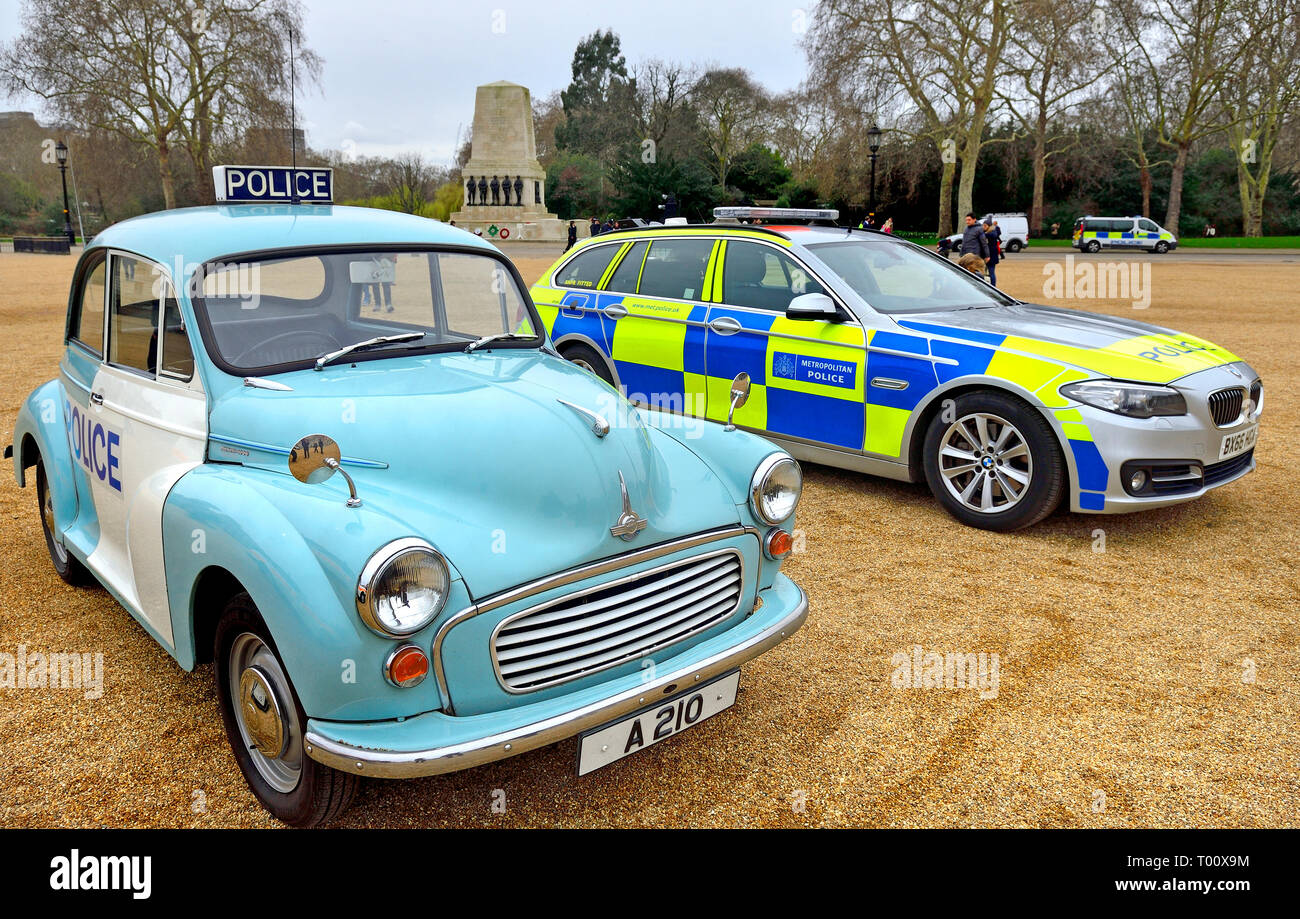 London, UK. 8th March 2019. Display of old Police Cars in Horse Guards Parade to coincide with a march to celebrate 100 years of women in the Metropol Stock Photo