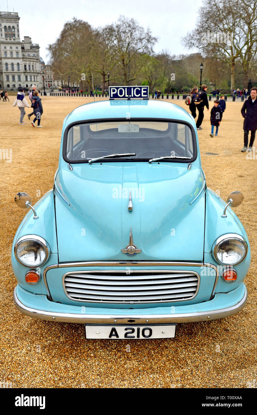 London, UK. 8th March 2019. Police Morris Minor 1000 (1969) at a display of old Police Cars in Horse Guards Parade to coincide with a march to celebra Stock Photo