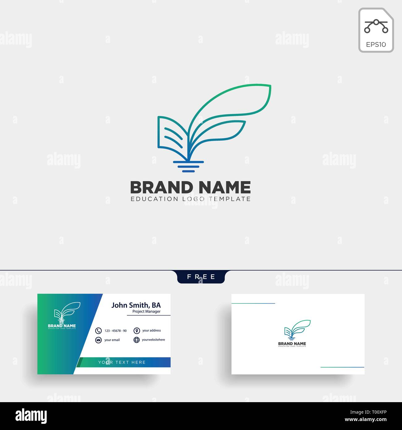 learning book plant leaf tree line logo template vector illustration icon element isolated with business card - vector - Stock Vector