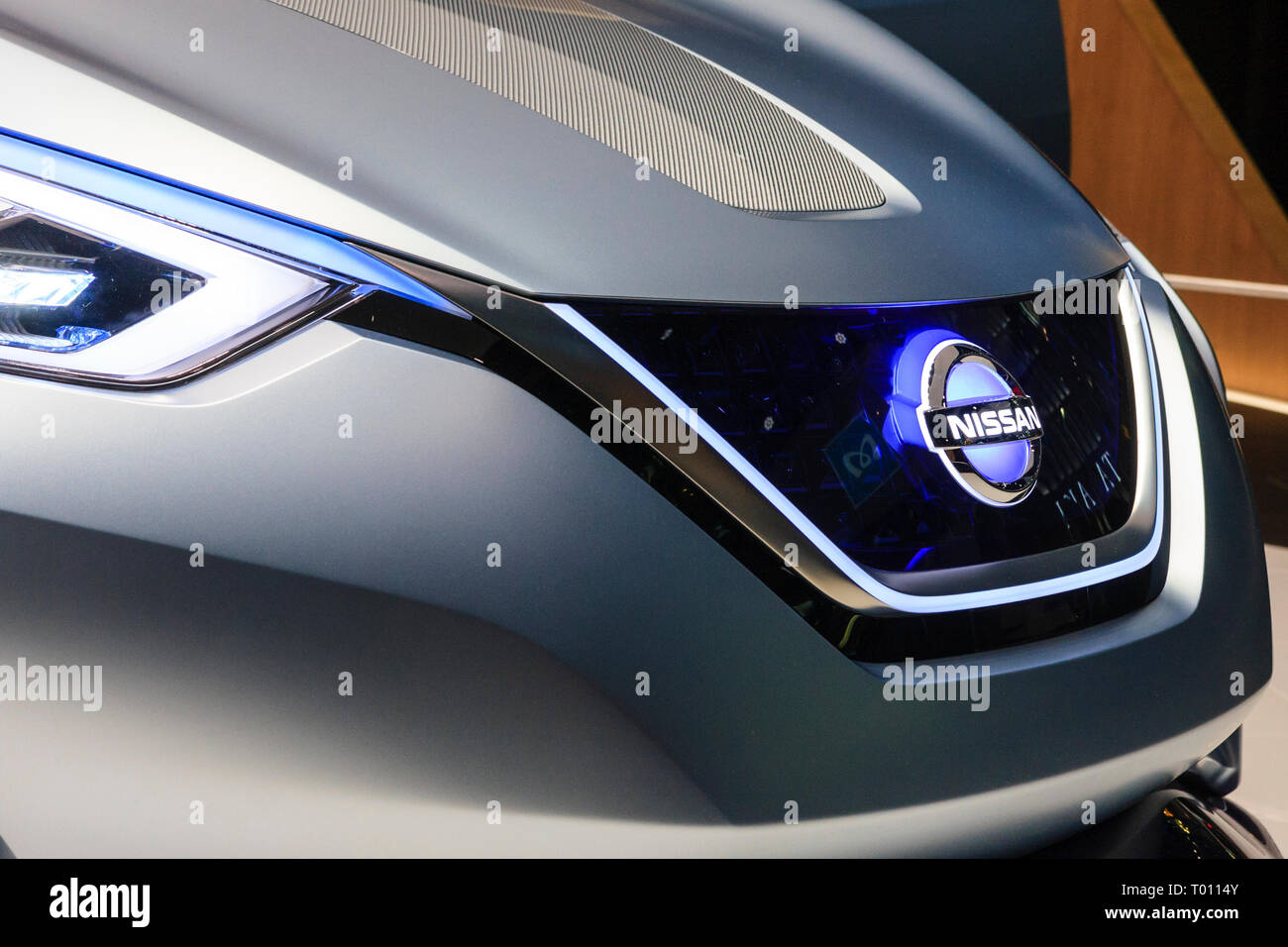Nissan flagship showroom on the Ginza in Tokyo. Display of the concept car, the electric Nissan IDS, close of the front showing logo on bonnet, hood. - Stock Image