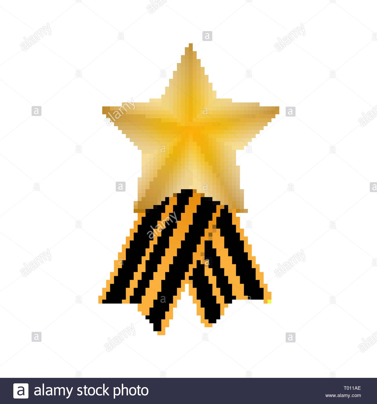 Gold star and St. George ribbon on white background - Stock Vector