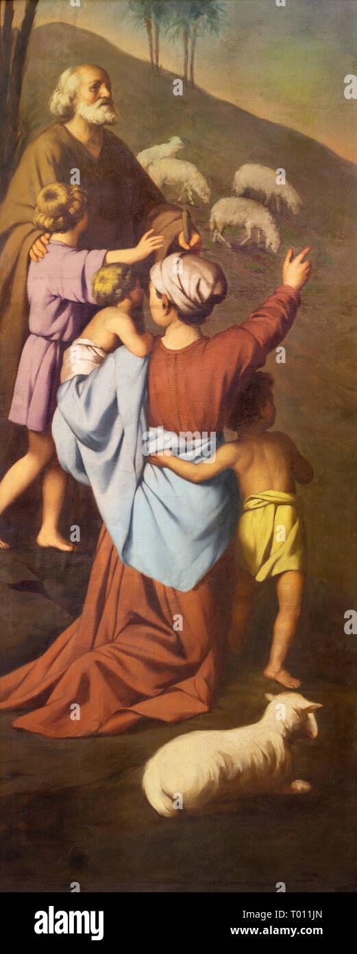 REGGIO EMILIA, ITALY - APRIL 12, 2018: The painting of sheepherds in church Chiesa dei Cappuchini by Padre Angelico da Villarotta (1900 - 1987). - Stock Image