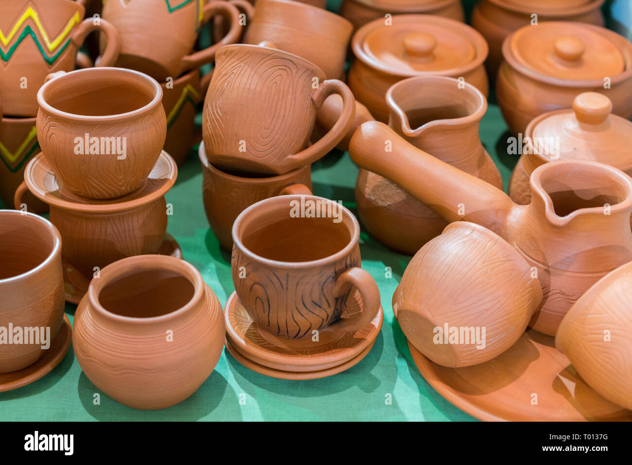 Terracotta Plates High Resolution Stock Photography And Images Alamy