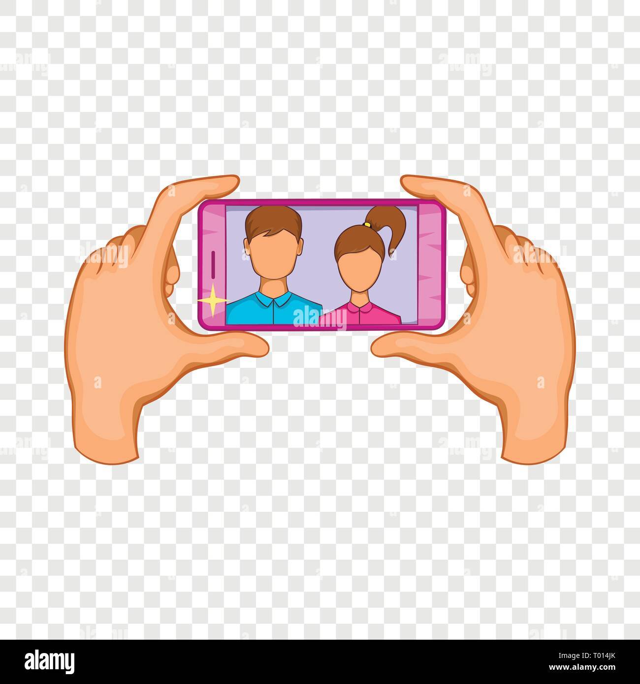 Hands photographed on a cell phone icon - Stock Vector