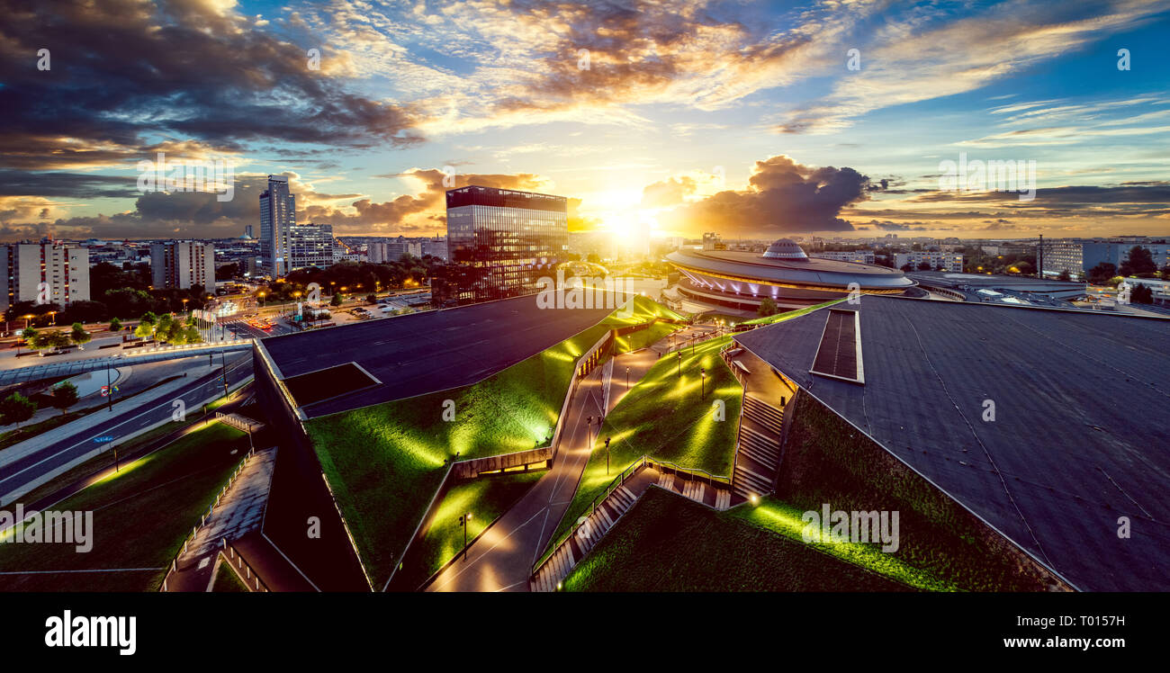 The modern city center of Katowice with green roof of International Congress Centre and the famous Spodek sports hall Stock Photo