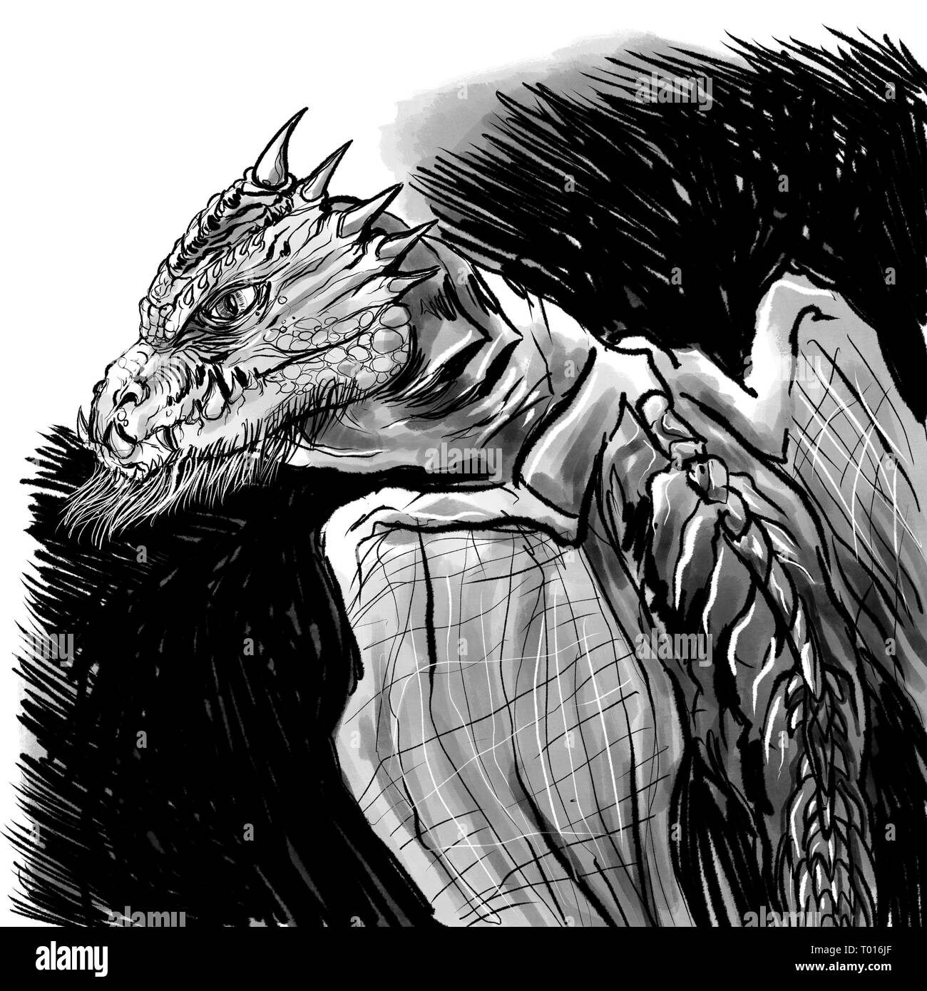 A scaly, beastly dragon illustration - Stock Image