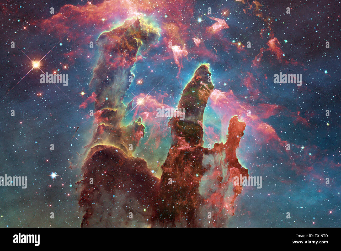 Cosmic Landscape Colorful Science Fiction Wallpaper With Endless Outer Space Elements Of This Image Furnished By Nasa Stock Photo Alamy