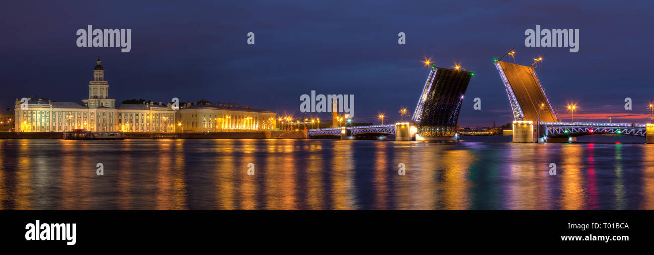 Night panoramic view on illumunated open Palace Bridge, Neva River and buildings on the embankment, St. Petersburg, Russia - Stock Image