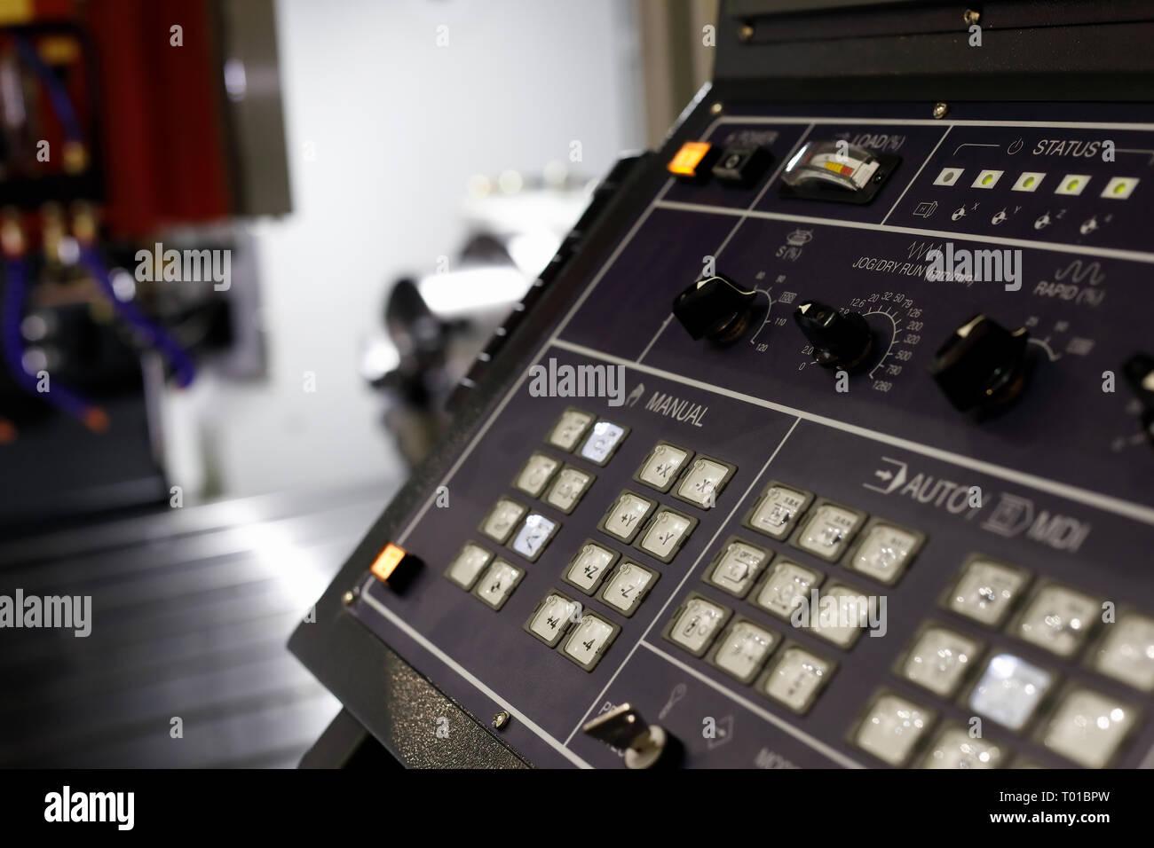 CNC control panel of lathe machining center. Selective focus. - Stock Image