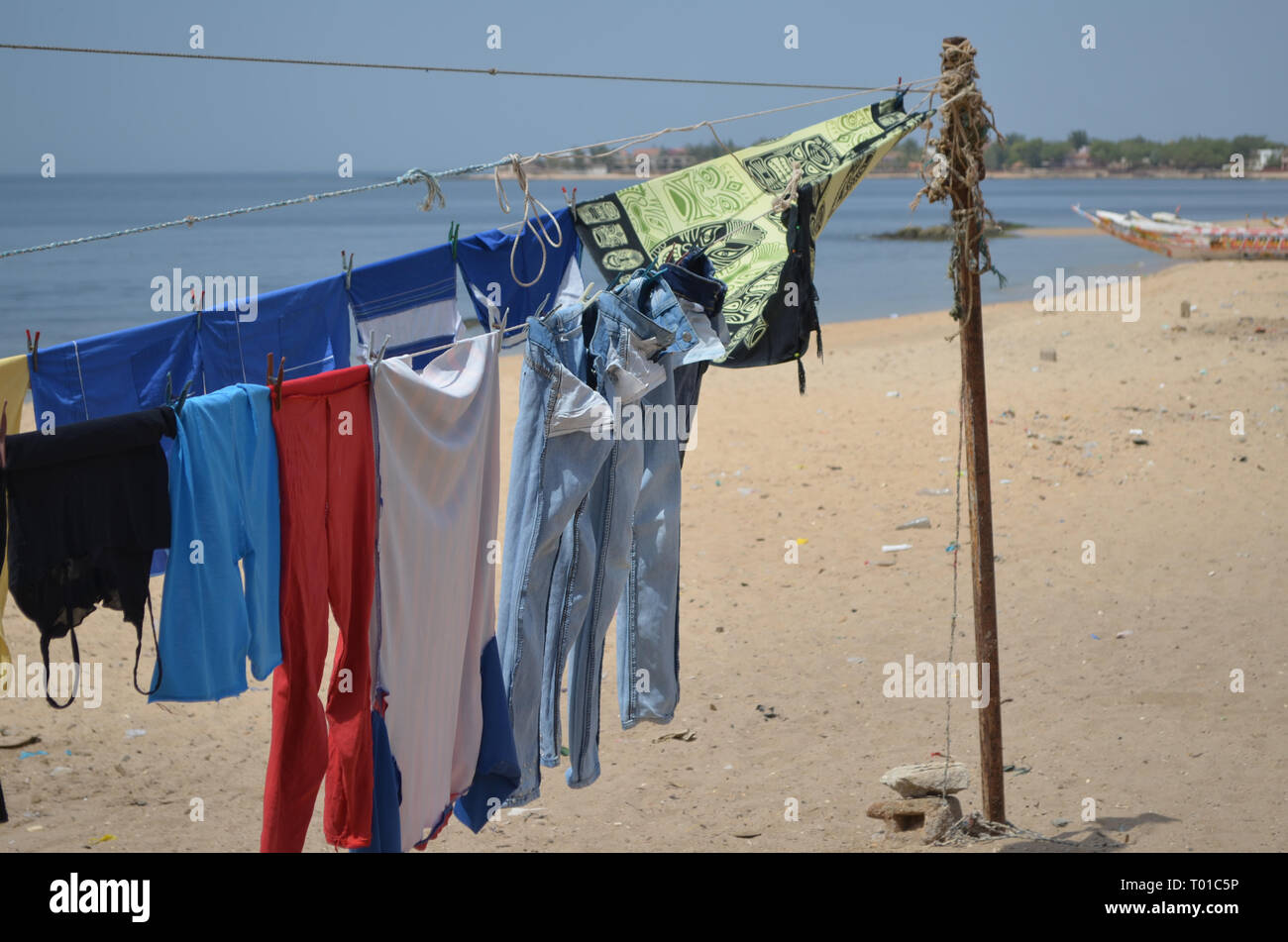 Ngaparou, a small coastal community in the Petite Cote of Senegal - Stock Image