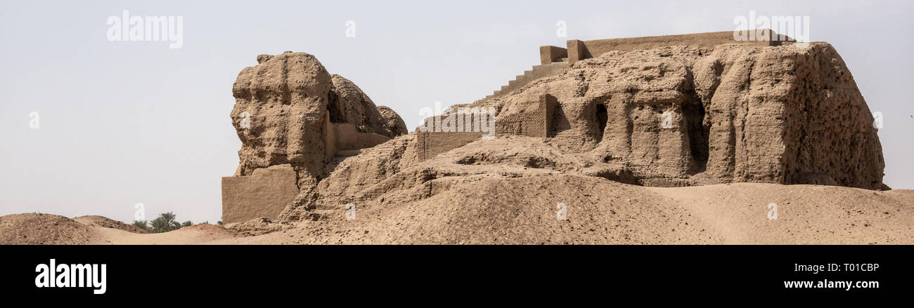 Kerma, Sudan, February 8., 2019: The large central temple of Kerma, partially renovated and restored - Stock Image