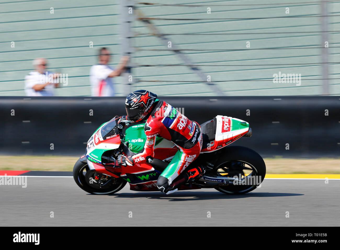 Scott Redding (GBR) of Aprilia Racing Team Gresini, MotoGP World Championship 2018, Pramac Motorrad Grand Prix Deutschland, Sachsenring, 13.07.2018 - Stock Image