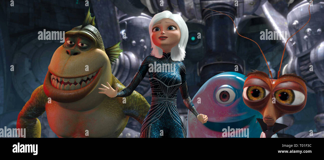 MONSTERS VS. ALIENS, THE MISSING LINK, GINORMICA, B.O.B. , DR. COCKROACH P.H.D., 2009 - Stock Image