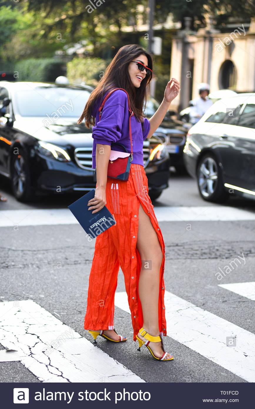 Fashionable woman at MIlan fashion week sping summer2019 - Stock Image