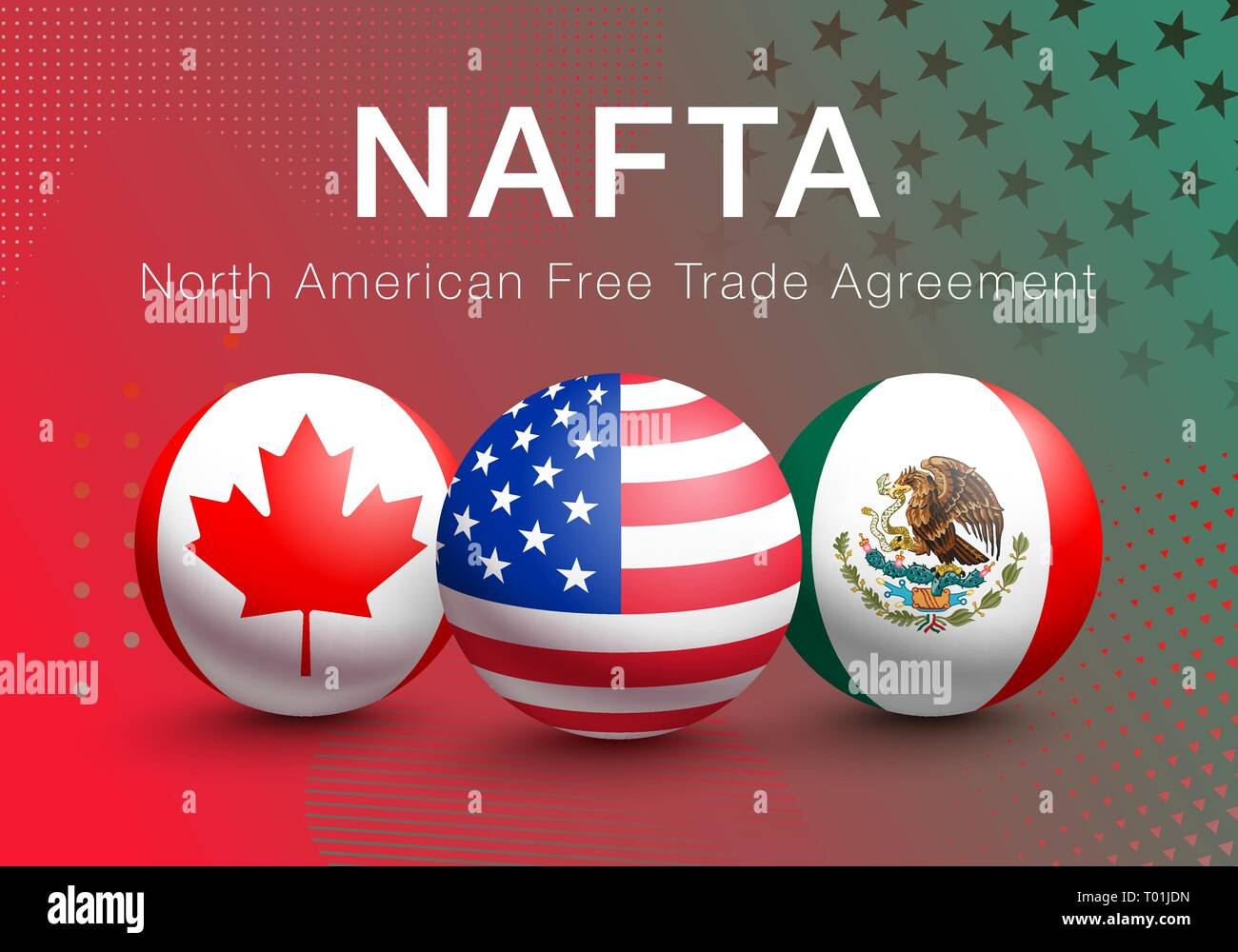 Vector Flags Of Nafta Countries In The Form Of A Ball