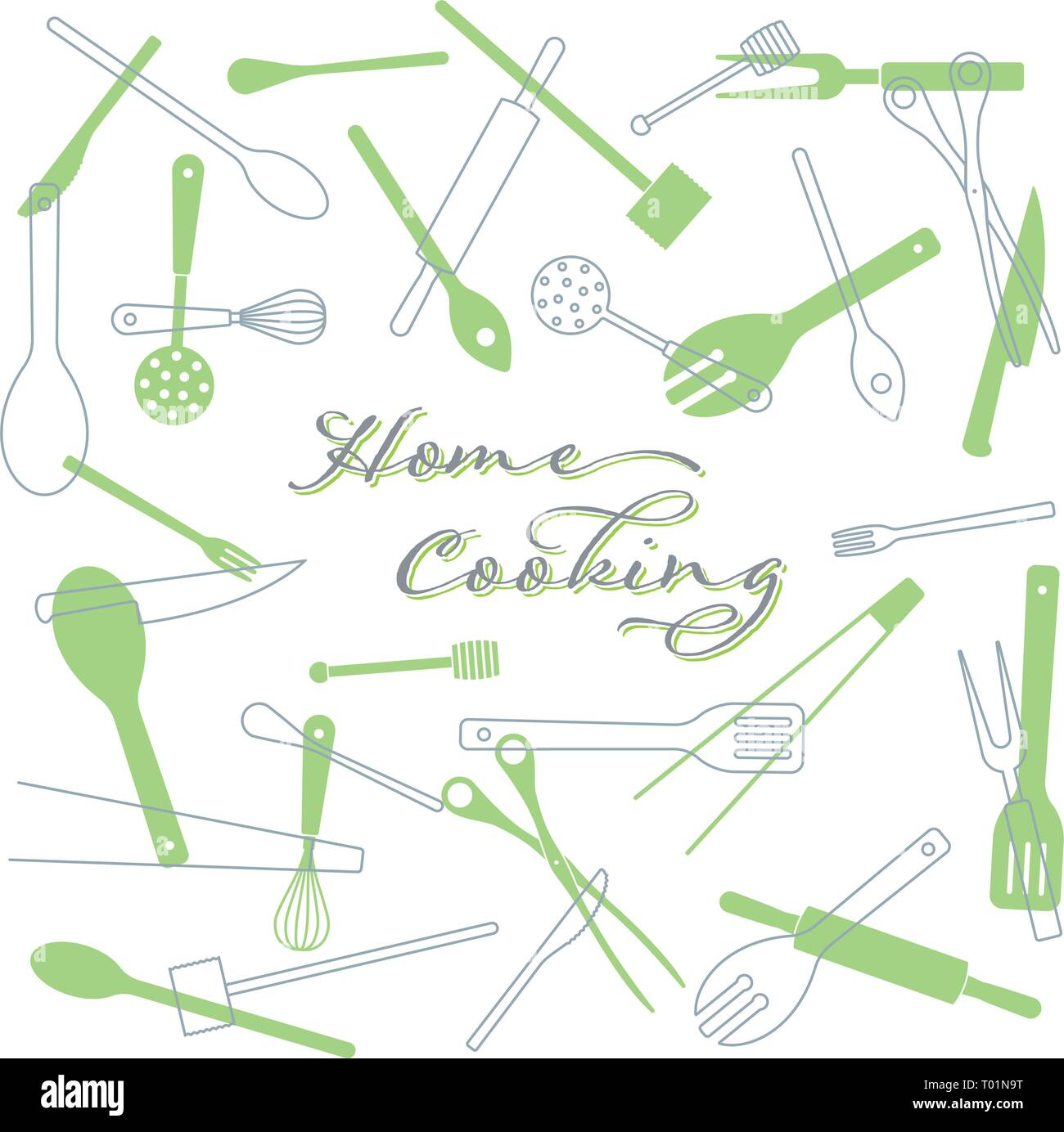 Home Cooking concept background. Kitchen utensils vector illustration. text on separate layer. - Stock Vector