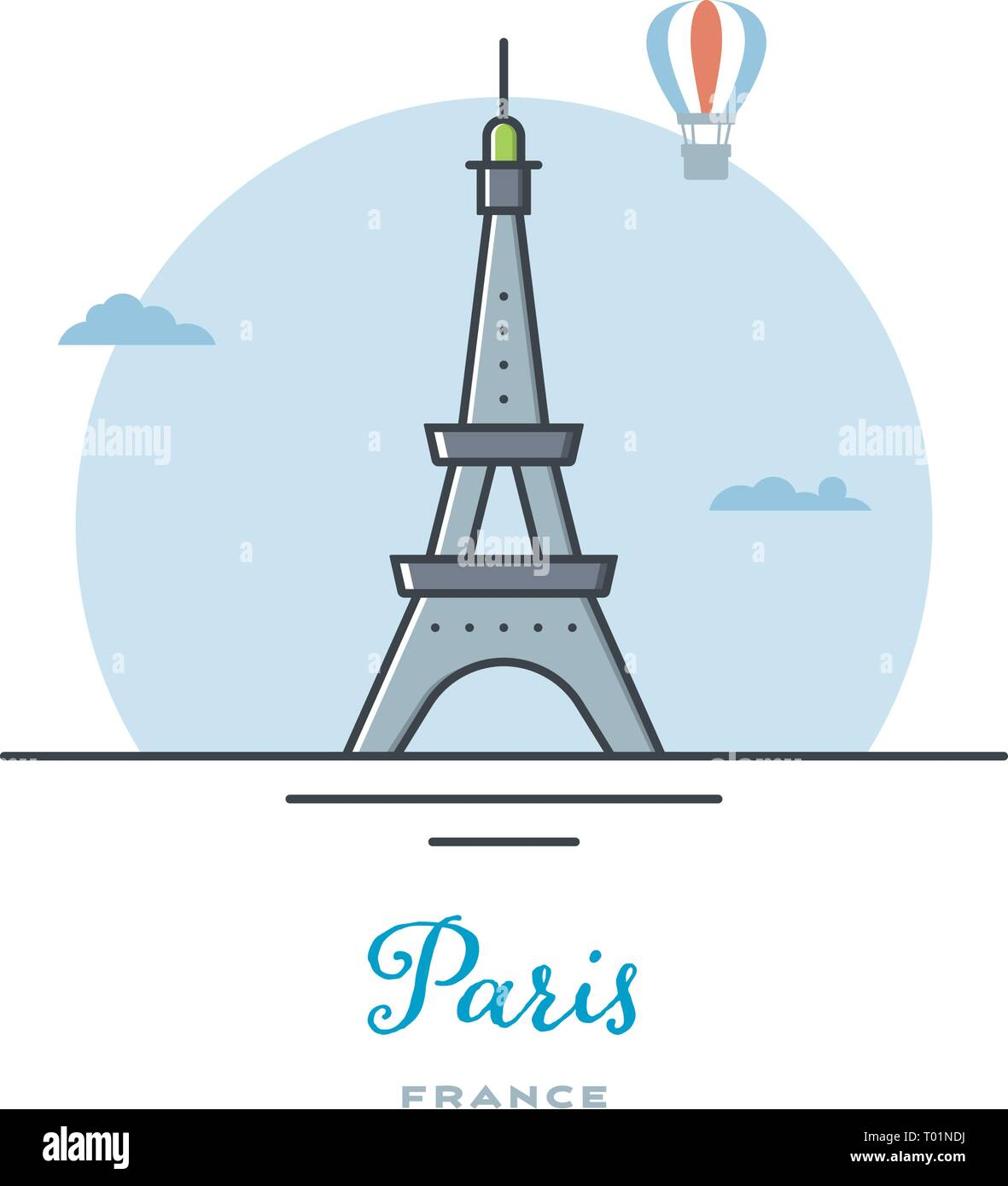 Eiffel Tower at Paris, France, flat vector illustration. Tourism and travel icon. - Stock Vector