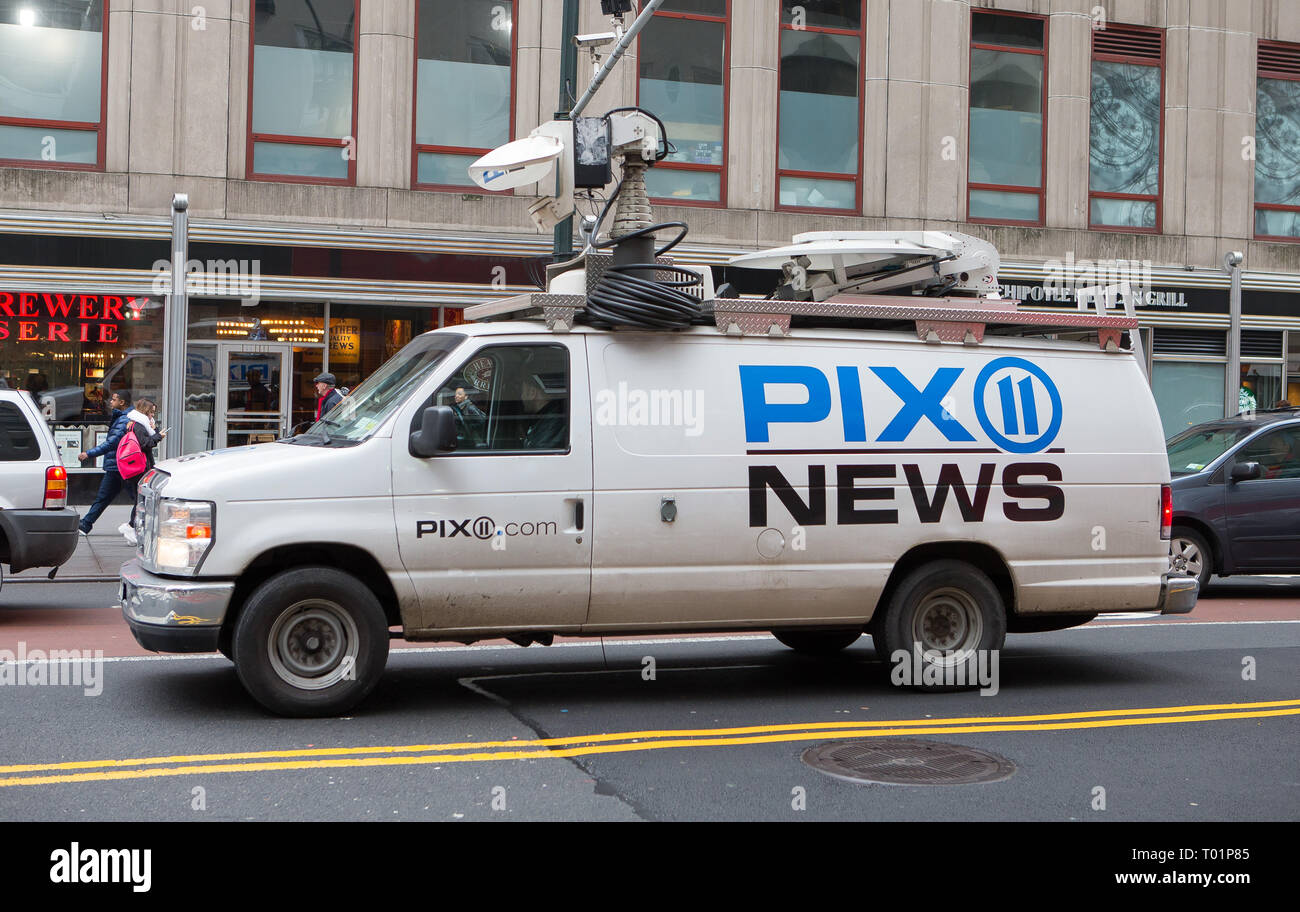 Pix 11 News satellite truck on the streets of New York City, NY, USA. - Stock Image
