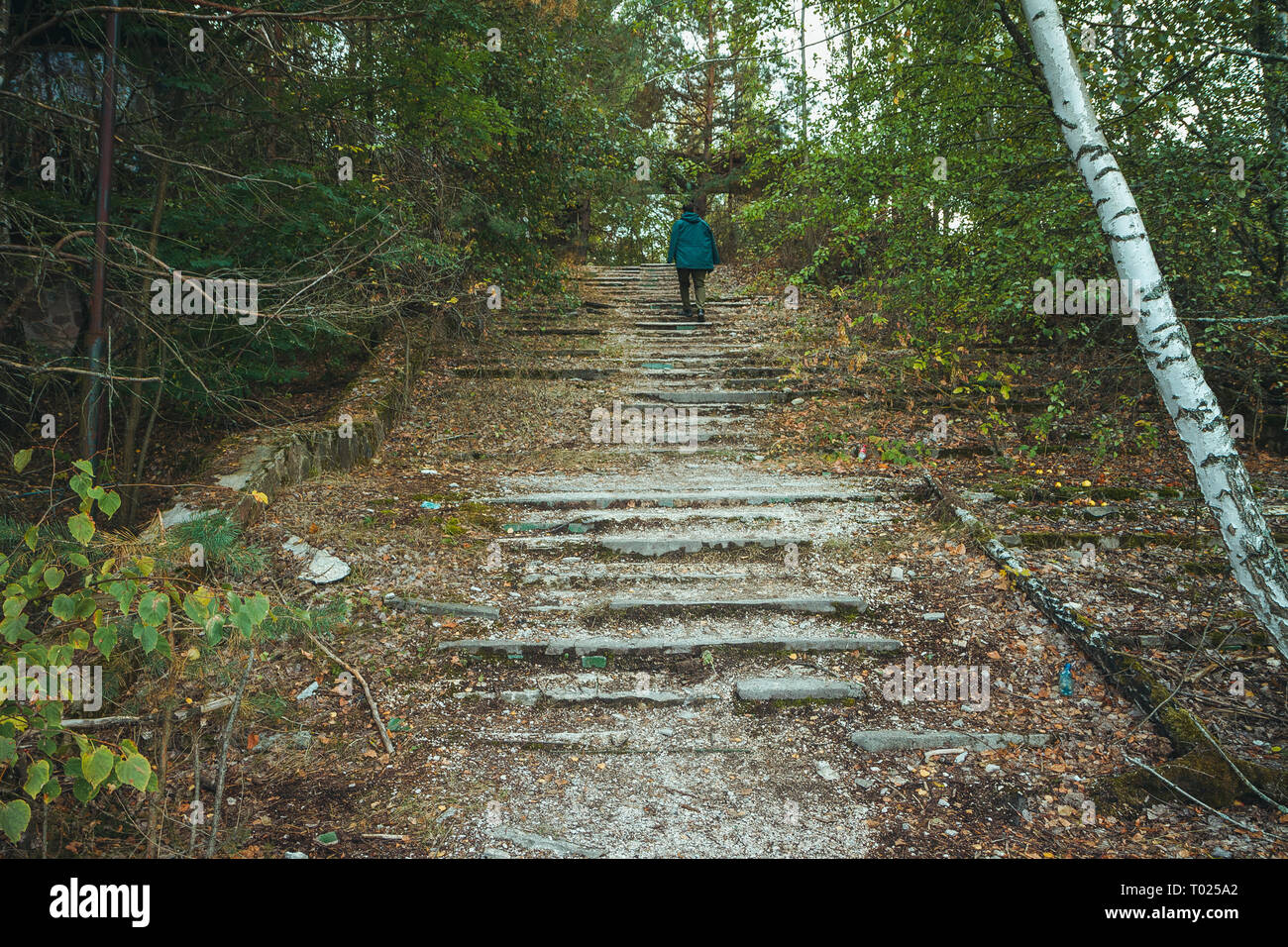 Chornobyl exclusion zone. Radioactive zone in Pripyat city - abandoned ghost town. Chernobyl history of catastrophe. Lost place in Ukraine, USSR - Stock Image