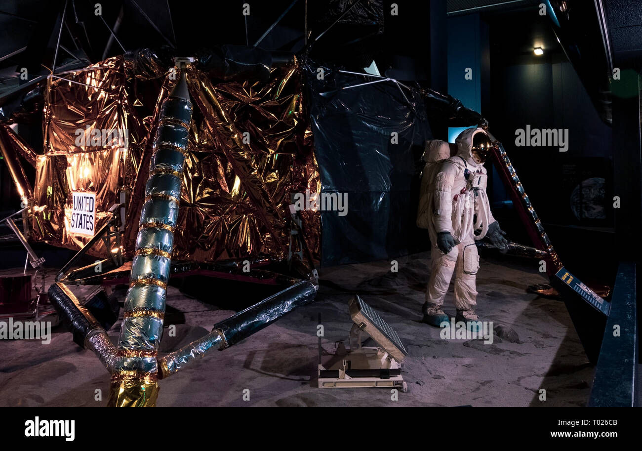 London, UK - March 19 2018: Wide view of the full-sized replica of Eagle, the lander that took astronauts Armstrong and Aldrin to the Moon in 1969 in  - Stock Image