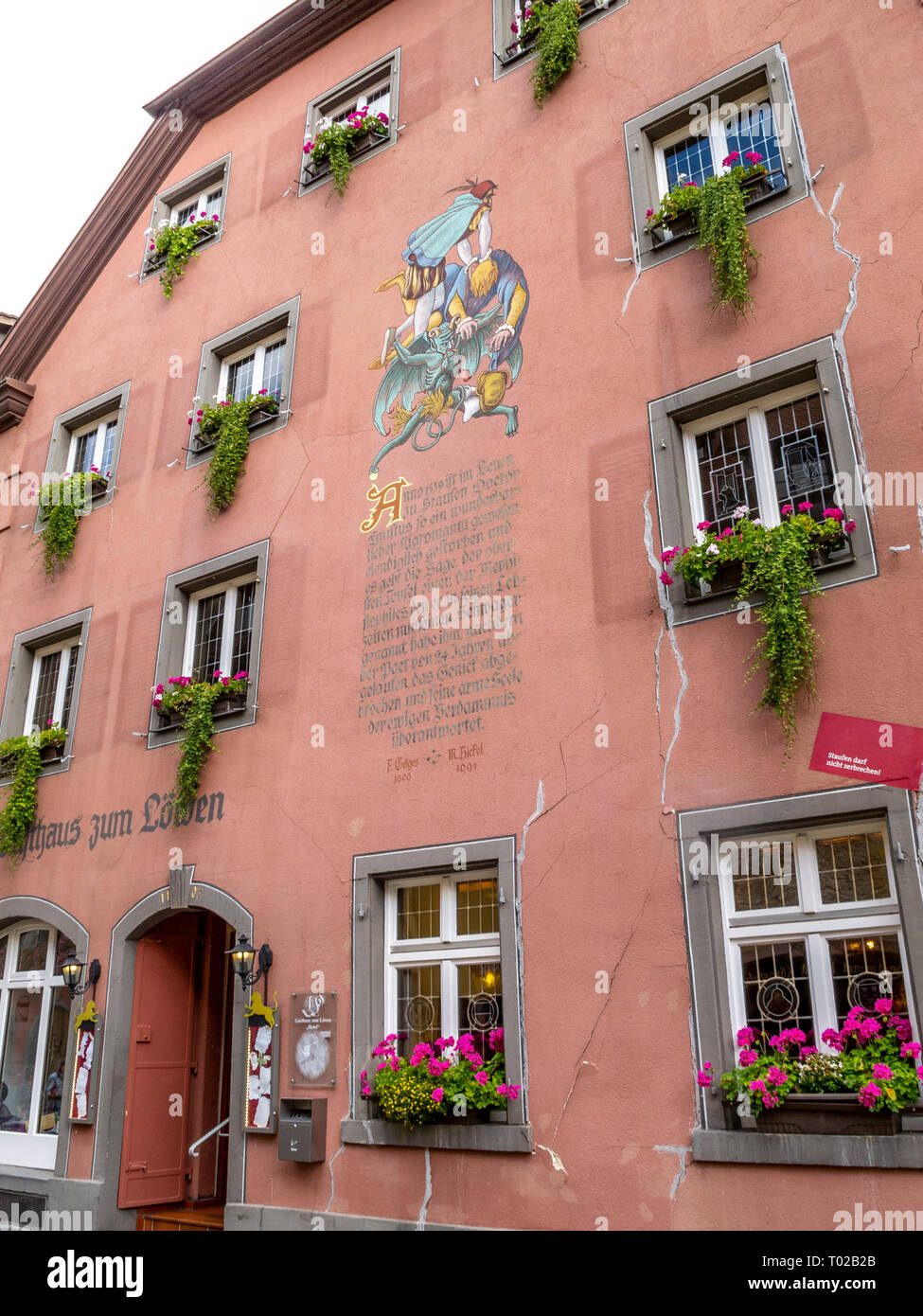 STAUFEN IM BREISGAU, GERMANY - SEPTEMBER 14, 2015: Facade of the inn Gasthaus zum Loewen - the presumed place of death of Dr. Faustus - Stock Image