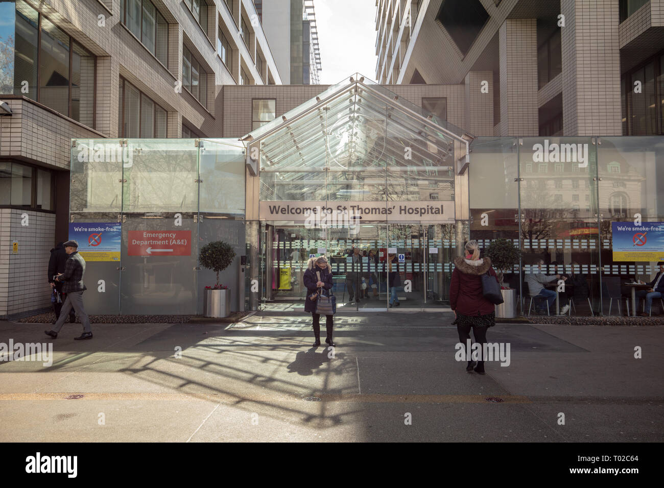 Entrance of St Thomas Hospital in central London, near Westminster Bridge, UK on a midday in March. - Stock Image