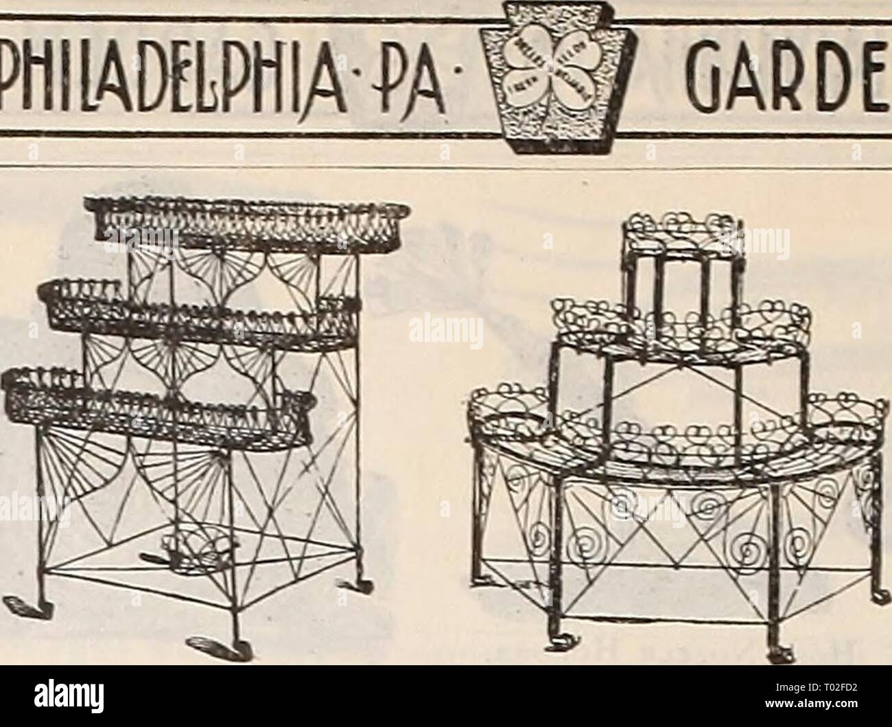Dreer's garden calendar : 1900 . dreersgardencale1900henr Year: 1900  180 |1lENRrADREER-PHIlADELPH^^â W    OARDEIi REQUISITES- WiKE Plant Stands Knives. Pruning, American, 50 cts.. 75 els. and $1 00 â ⢠St.ig ' Imported, No. 1, very heavy 125 ' ' ' 2, meJ. lieavy. ... 1 15 ' ' ' ' ' 3, light 100 'Cocoa' ' ' 4: heavy 90 '⢠Stag '2blades' ' 5, medium 100 ' Horn. Budding'' ' 6, Dreer's Special. 75 'Ivory, â¢' ' ' 7 and No. 8 100 'Cocoa. ' ' ' 9, for garden use.. 60 * ' Corn, American, 50, Corn or Hedge, Eng. 75 'Brush, ' $1 00, English 175 'â ' Gooseberrv, Pruning 1 00 COÂ«W Ofl MtOftt *' Wood, - Stock Image