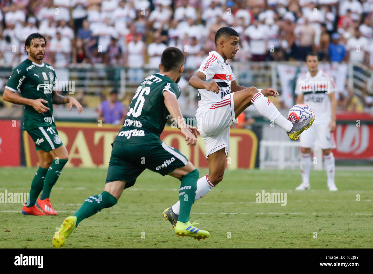 SP - Sao Paulo - 03/16/2019 - Paulista 2019, Sao Paulo vs. Palmeiras - Brenner player from Sao Paulo during a match against Palmeiras at Pacaembu Stadium for the Paulista 2019 championship. Photo: Marcello Zambrana / AGIF - Stock Image