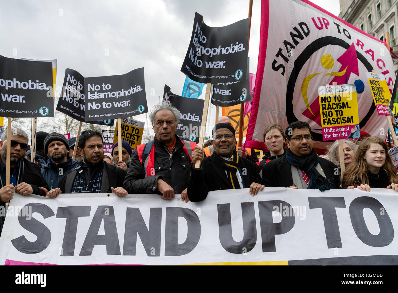 London, UK. 16th Feb, 2019. People come together to protest against far-right groups in UK and Europe. Muslim community with banners 'No To Islamophobia No To War'. Credit: AndKa/Alamy Live News - Stock Image
