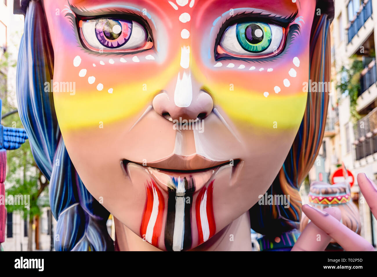 Valencia, Spain. 16th March 2019. Detail of some Fallas day monuments, publicly displayed in the squares of the neighborhoods to be admired by tourists. Credit: Joaquin Corbalan pastor/Alamy Live News - Stock Image
