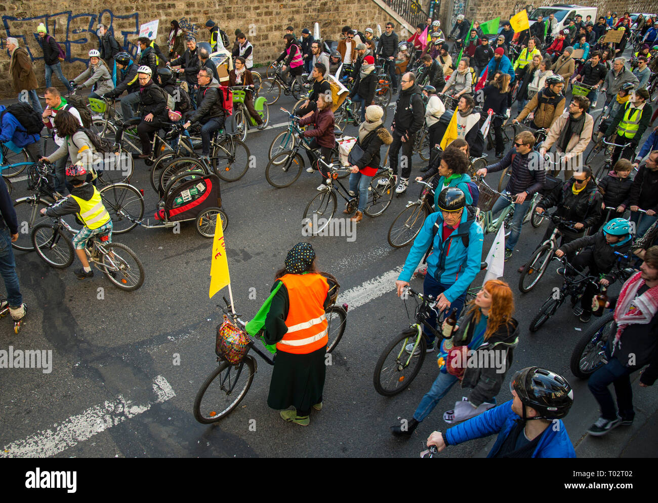 Paris, France. 16th March 2019. Protesters seen riding bicycles during the March of The Century strike in Paris. Thousands of people demonstrated in the streets of Paris to denounce the inaction of the government about the climate change during a march called 'March of The Century' (La Marche du Siecle). Credit: SOPA Images Limited/Alamy Live News - Stock Image