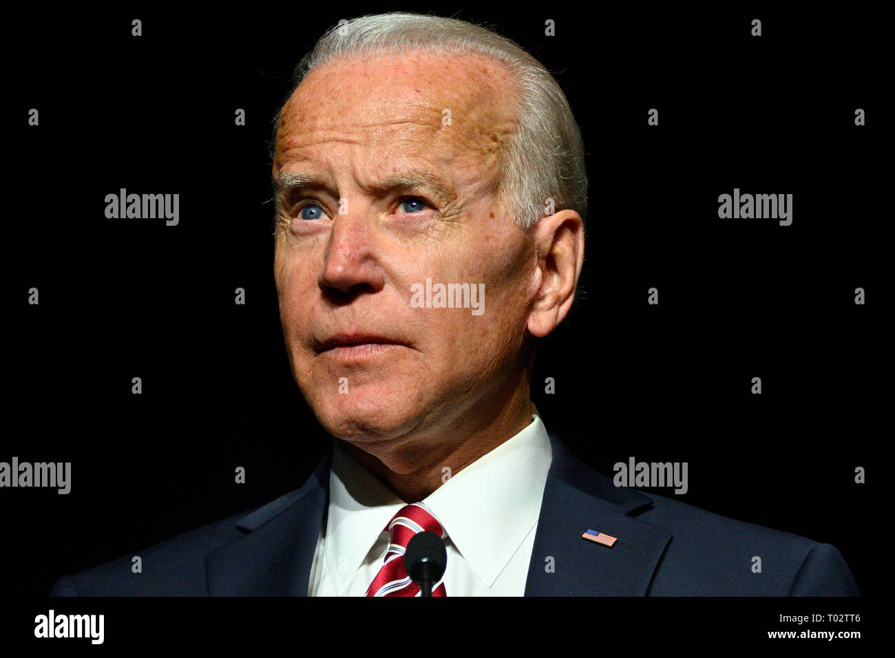 Delaware, USA. 16th March 2019. Joe Biden delivers the keynote speech at the First State Democratic Dinner at the Rollins Center in Dover, DE on March 16, 2019. The former U.S. Vice President refrained from announcing his candidacy, even-though early polls conducted in March indicate former Vice President Biden as the favorite of a large Democratic field of candidates. Credit: OOgImages/Alamy Live News - Stock Image